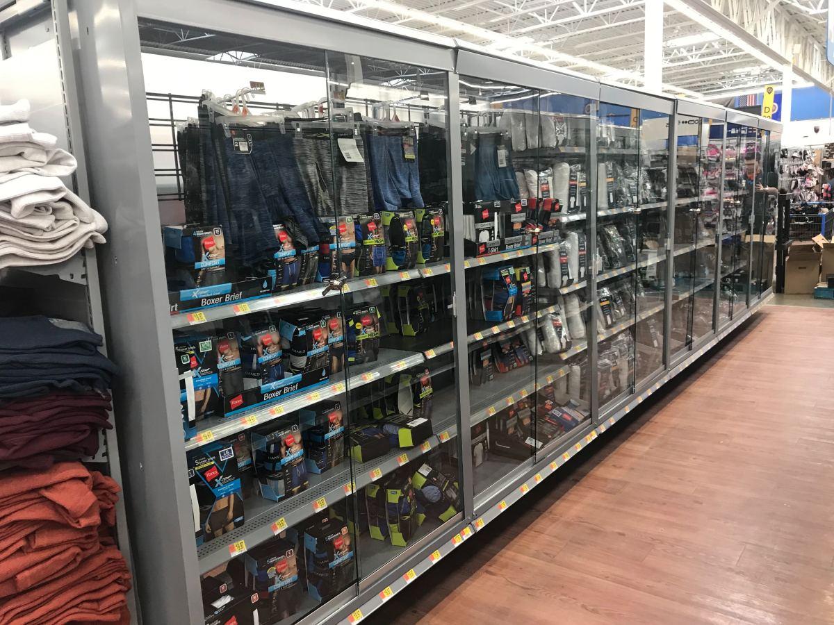 Walmart locked up socks, underwater