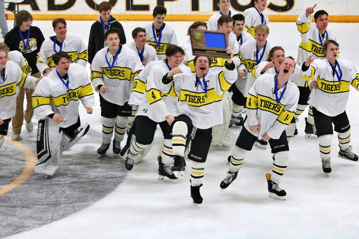 The Hutchinson Tigers celebrate after an 8-1 win over Litchfield/Dassel-Cokata in the Section 3A championship game Wednesday night in St. Peter, Minnesota.
