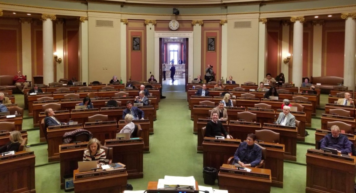 Lawmakers practicing social distancing in the House.