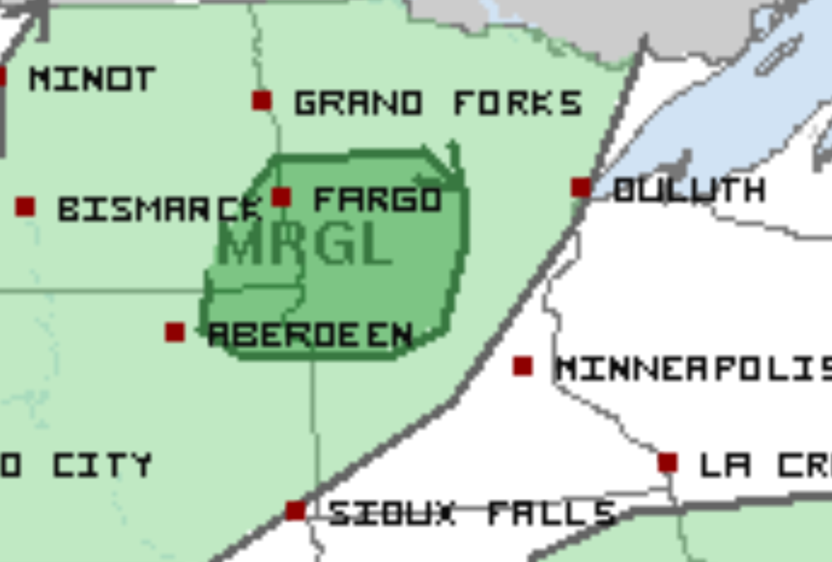 The darker green shade is where some marginally strong to severe storms are possible.