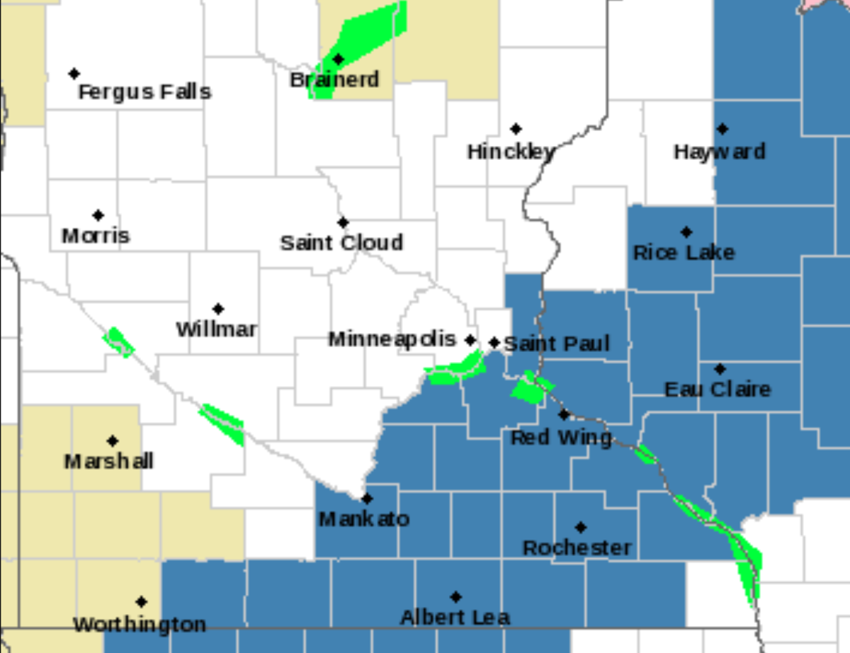 Counties in blue are in a winter storm watch Sunday morning into Monday.