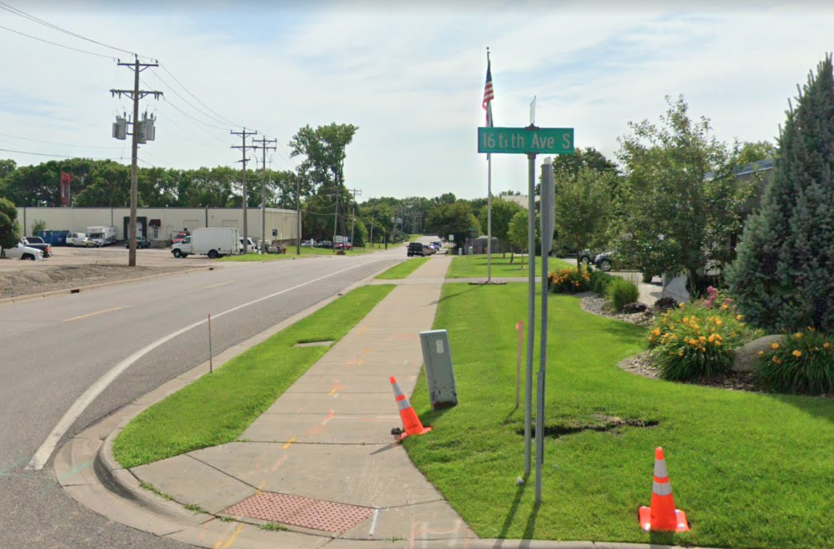 The intersection of 5th St.. S. and 16th Ave. S. in Hopkins, the area where the crash happened.