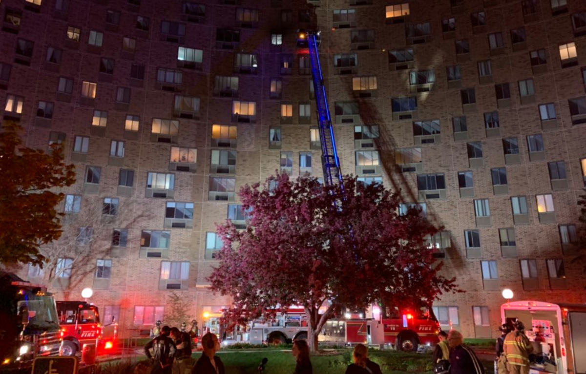 Fire was reported on the 11th floor of this high-rise building in St. Paul.