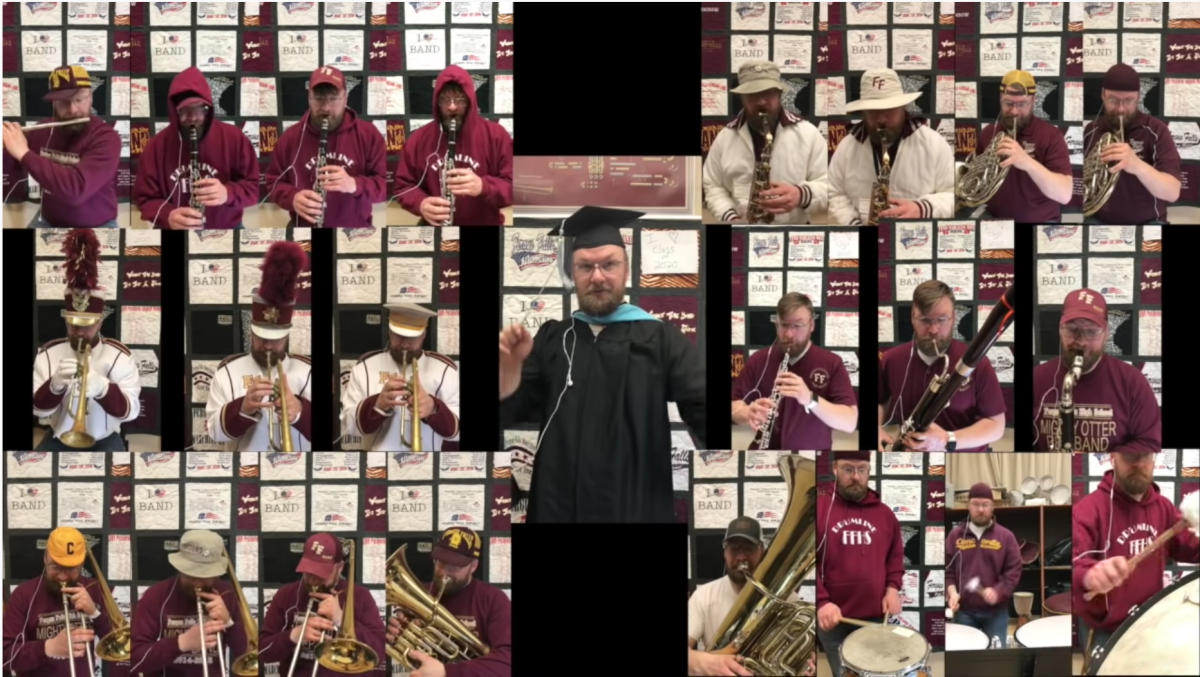 """Fergus Falls High School band director Scott Kummrow performed the 22 parts for """"Pomp and Circumstance"""" and compiled them into a video for graduation celebrations."""