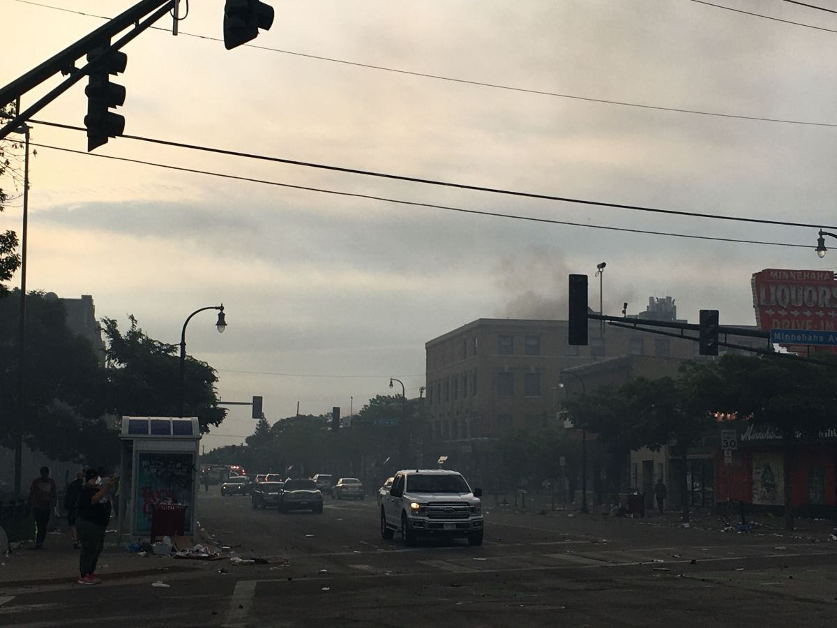Image of the riot-stricken Lake Street following Wednesday night's protests.