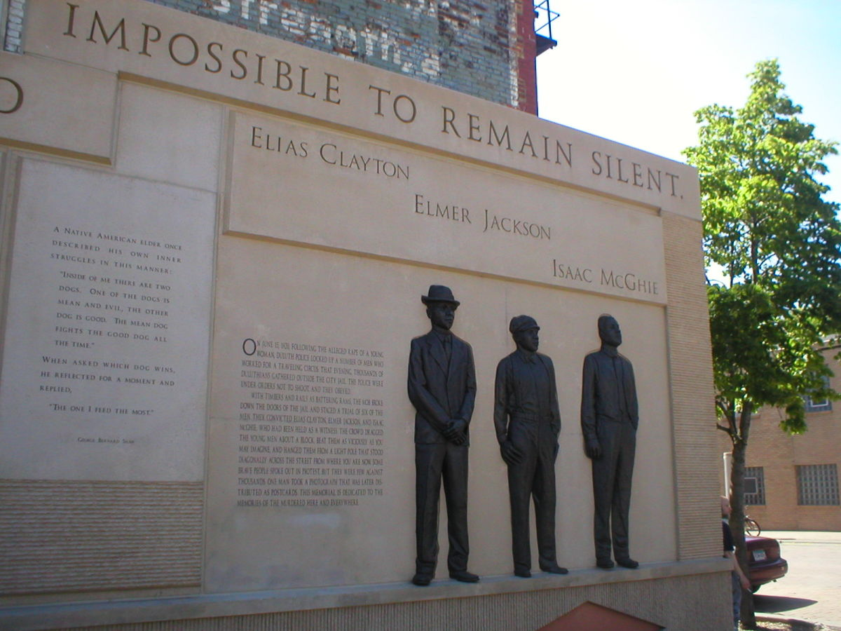A memorial to the three Black men lynched by a Duluth mob in 1920