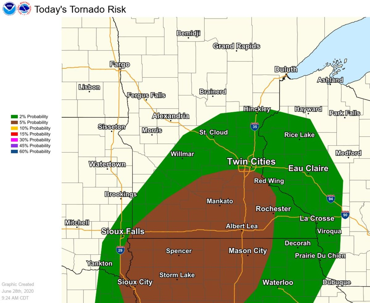 The area shaded in brown has the best chance of seeing a tornado.