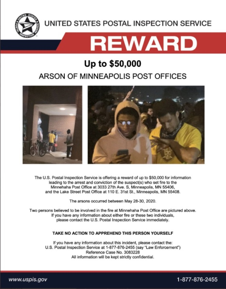 The USPIS wanted poster offering up to a $50,000 reward.