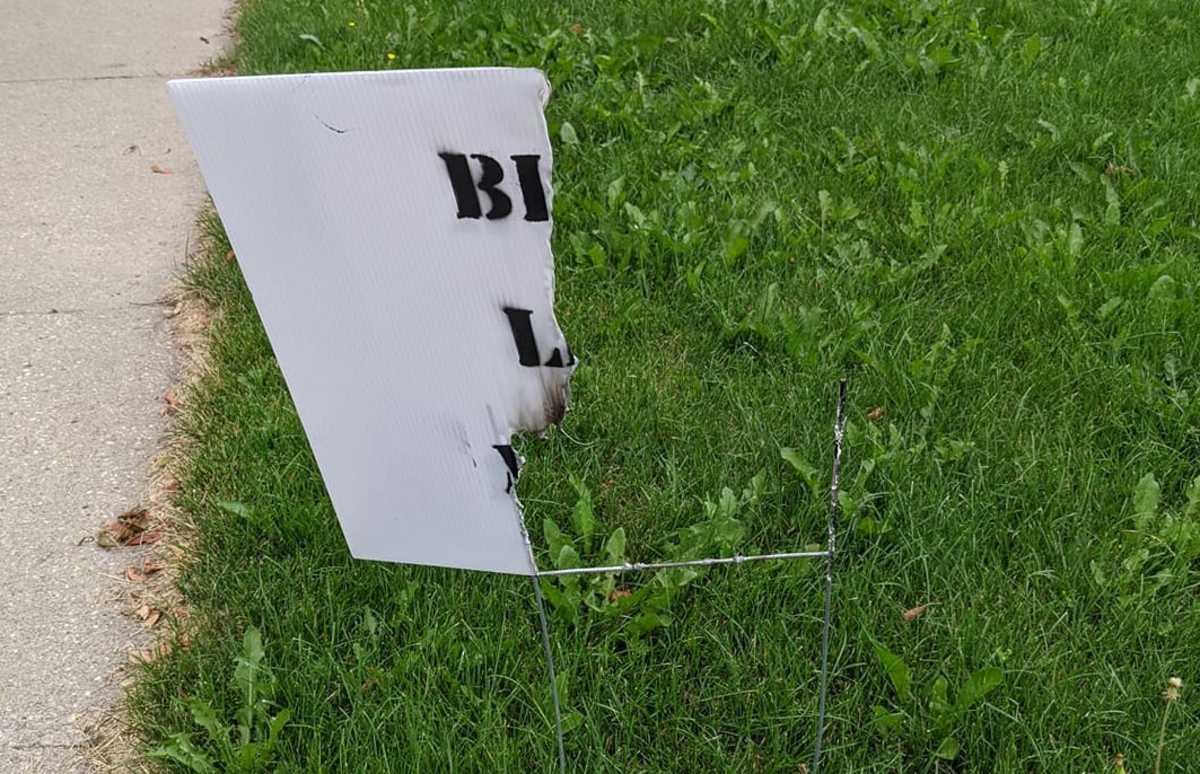 Argie burned sign