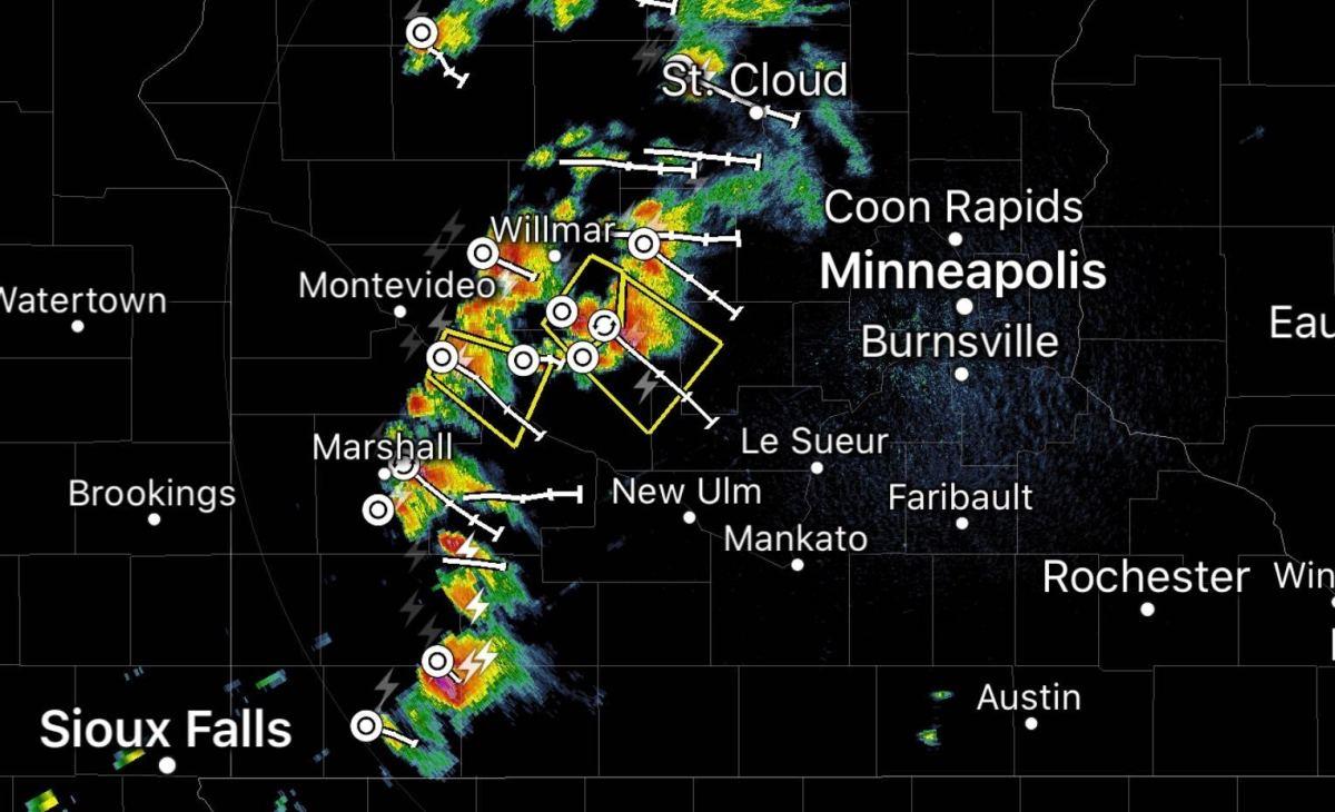 Radar imagery at 1:20 p.m. Saturday.