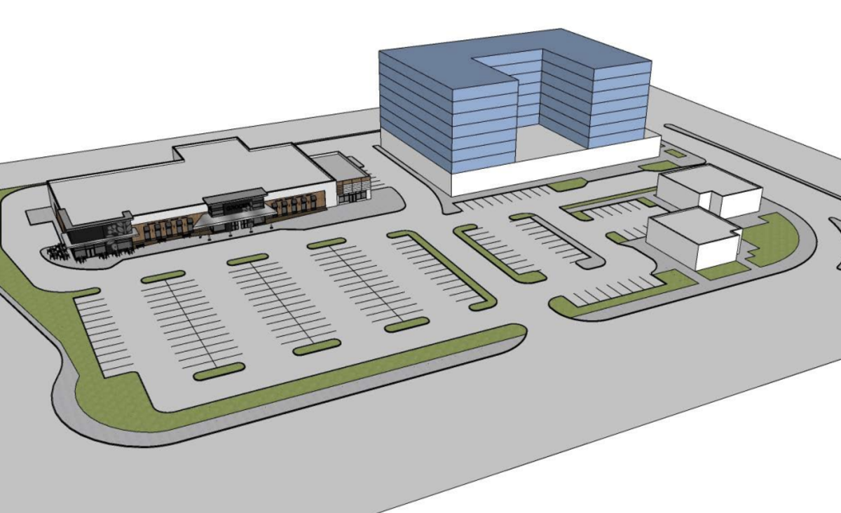 A future phase of redevelopment could include an eight-story apartment building.