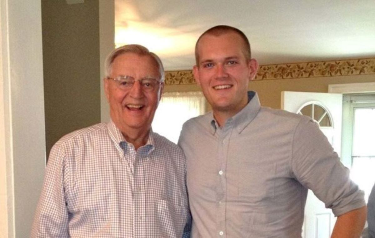 Former Vice President Walter Mondale and State Rep. Bjorn Olson in Mondale's Elmore childhood home, where Olson currently lives. The photo was taken in 2013 as the City of Elmore celebrated its 150th anniversary.