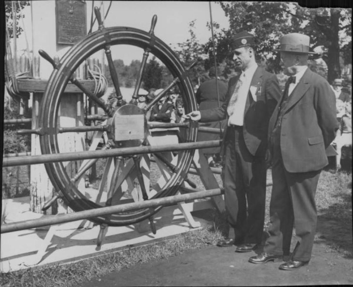 The wheel from the USS Minnesota, presented to the Minneapolis parks department in the 1930s.