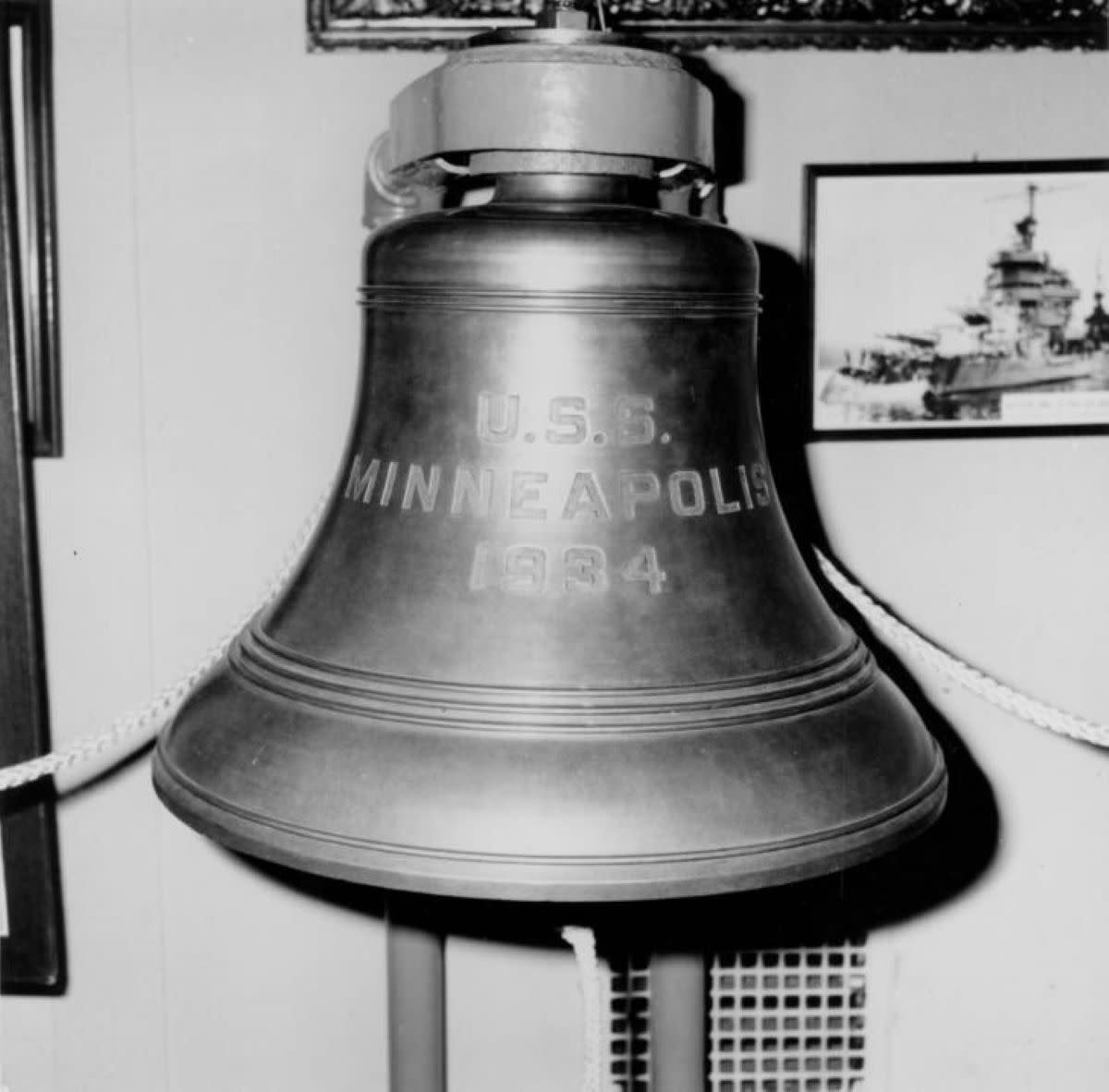 The bell from the USS Minneapolis, one of the most decorated U.S. Naval Ships in World War II.