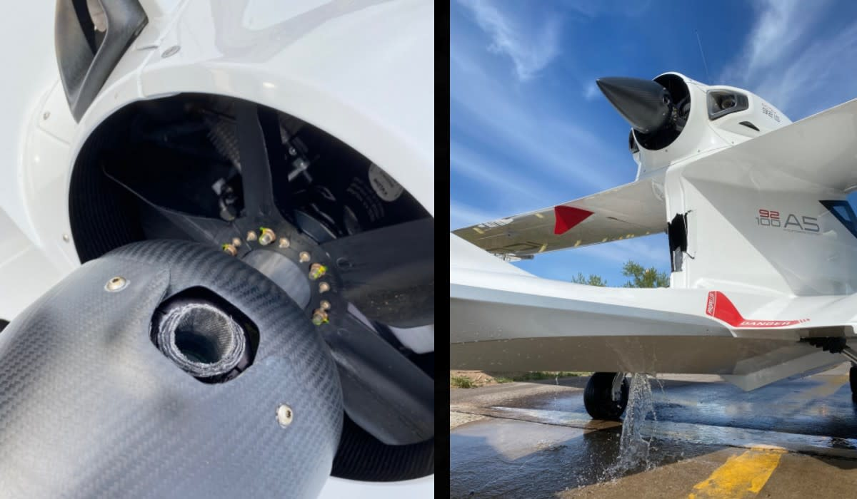 The image on the left shows the missing propeller and the photo on the right shows the damage to the floatplane.