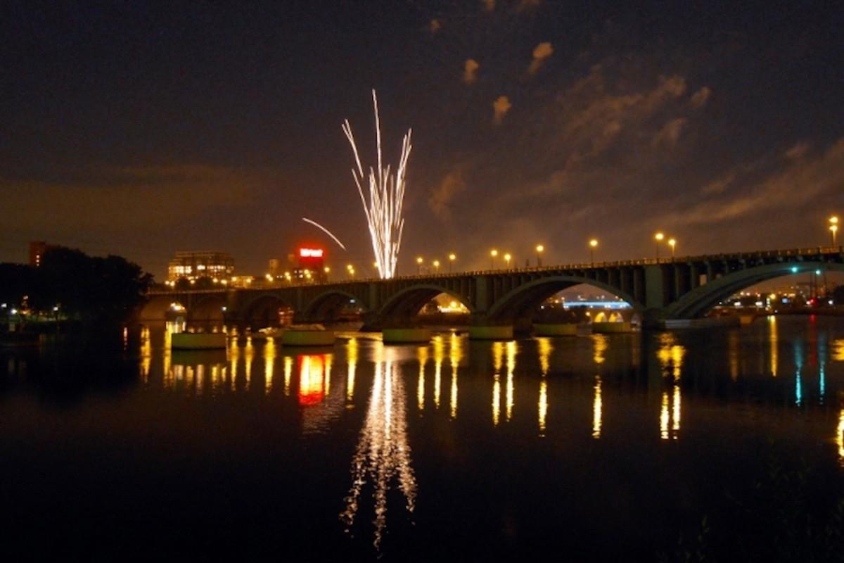 Fireworks near Stone Arch Bridge in Minneapolis.