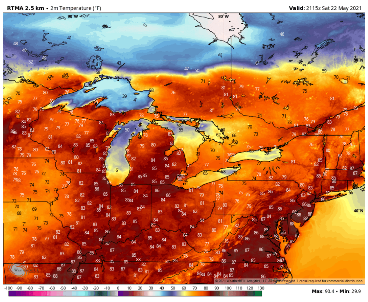 The aforementioned map featuring cold air above Lake Superior.