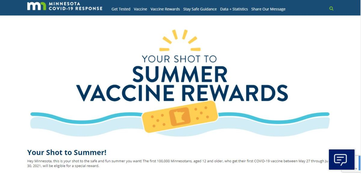 COVID rewards website