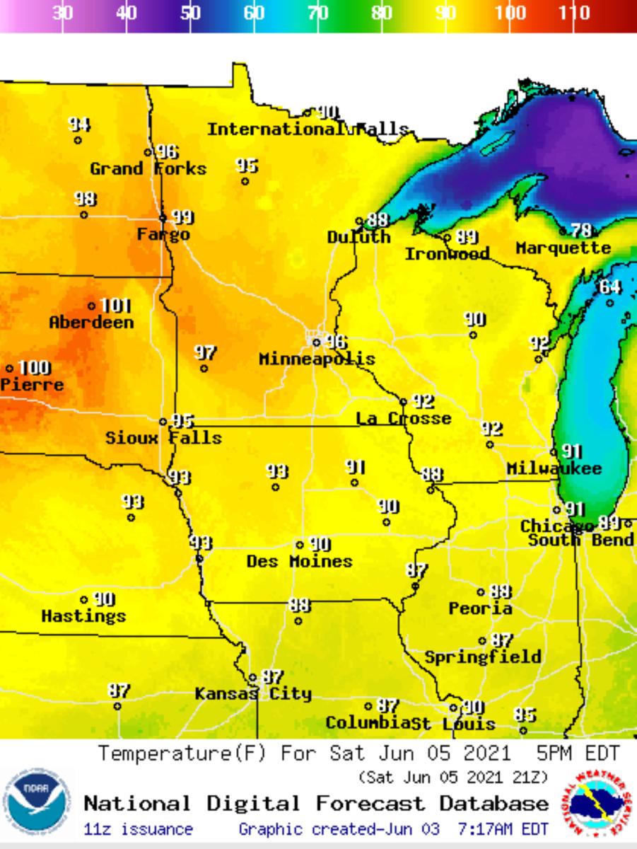 The temperature forecast for 5 p.m. Saturday, June 5.