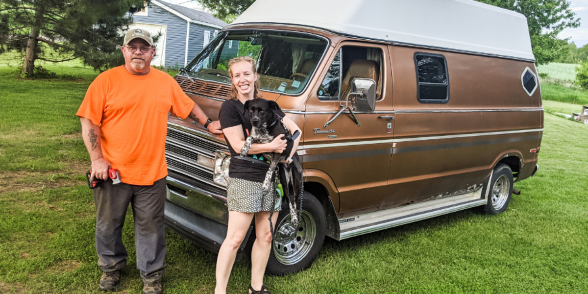 Kelly Blodgett of Money Gal Coaching (right) with her father, Curt (left). #VanLife