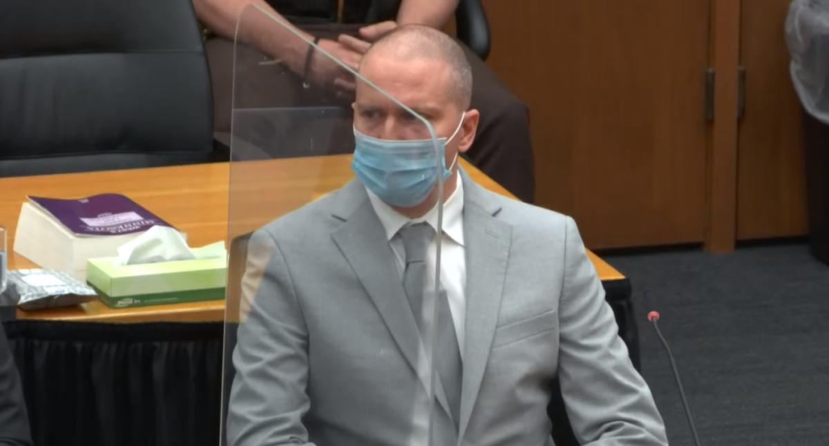 Derek Chauvin, in court Friday afternoon.