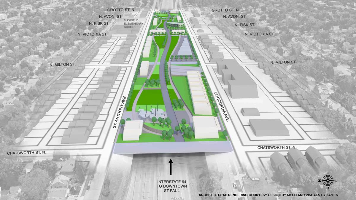An illustration of what the land bridge over Interstate 94 could look like.