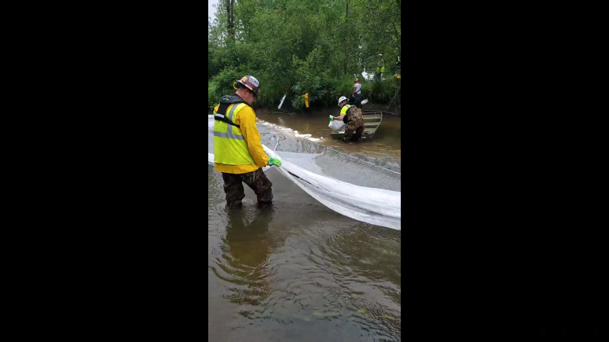 A screengrab from video showing workers at the site of an inadvertent discharge in the Willow River.