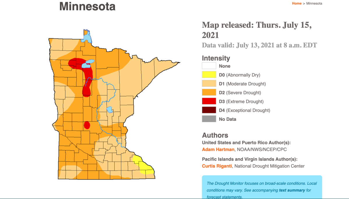 52% of Minnesota is in severe drought, while 4% is experiencing extreme drought conditions.