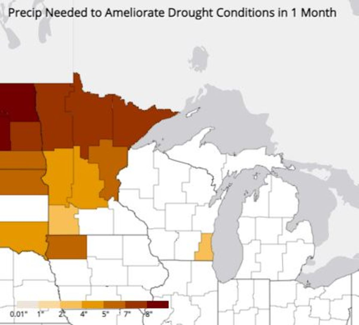 Estimated amount of precipitation needed to ameliorate the severity of drought conditions.
