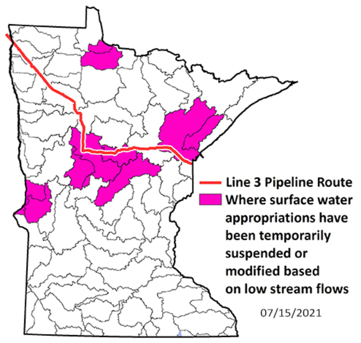 Minnesota DNR - Line 3 route watershed restrictions July 15 2021