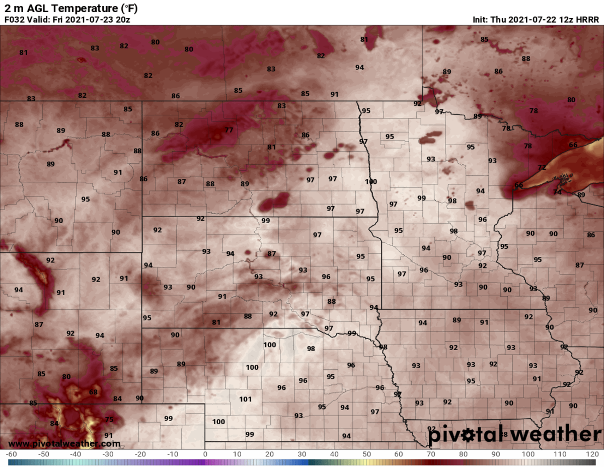 Potential high temps Friday afternoon.