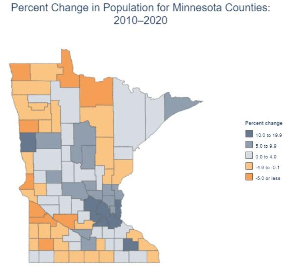 2020 US Census - Minnesota county growth map