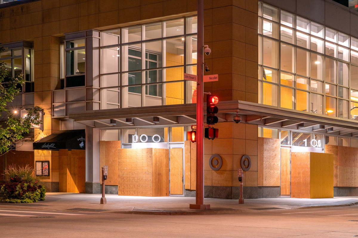 Target's corporate headquarters, boarded up in September of 2020.