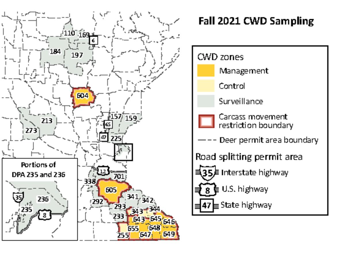 CWD sampling zones for the upcoming deer season.