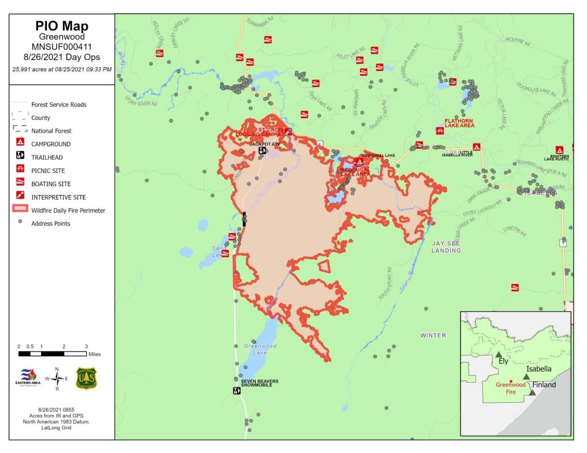 Facebook - Greenwood Fire map - USFS AUg 26 2021