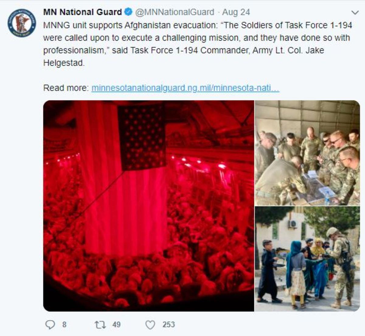 MN National Guard - deleted tweet Afghanistan - Aug 24 2021