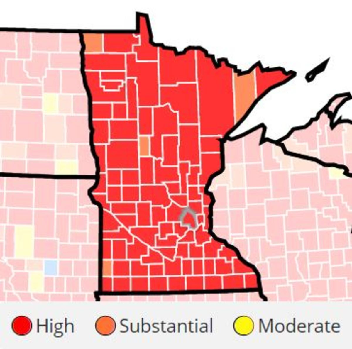 A county-by-county look at COVID transmission in Minnesota.