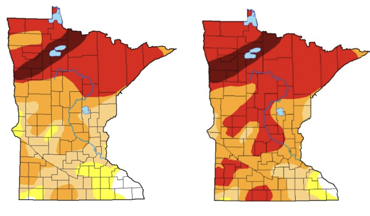 The map on the left shows the drought in Minnesota as of Aug. 31. The map on the right shows the drought in Minnesota as of Aug. 24.