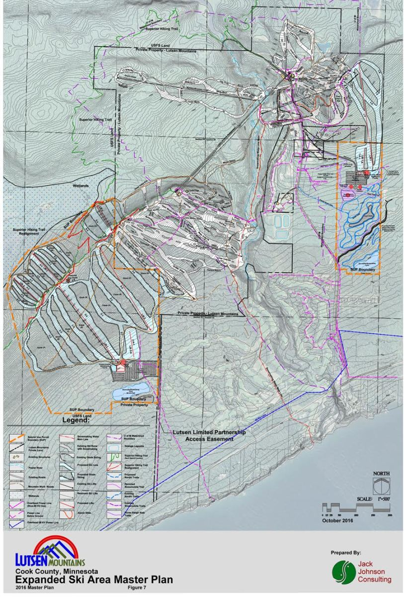 The areas outlined in orange highlight the special use permit boundary and where Lutsen Mountains hopes to expand.