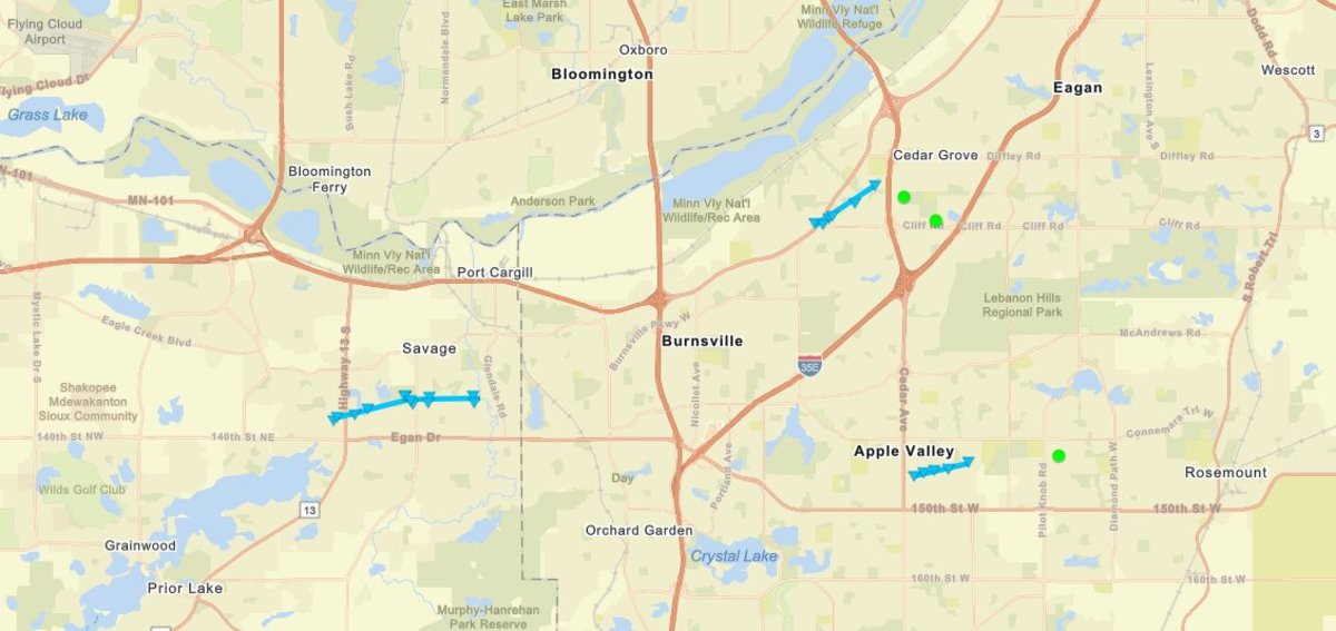 Storm tracks of the three confirmed tornadoes are shown via the light blue lines on the map.